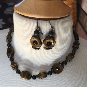 Francesca's brown beaded statement necklace